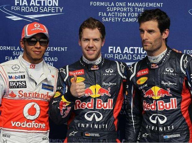Lewis Hamilton, Sebastian Vettel, Mark Webber