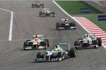 Nico Rosberg (Mercedes), Nico Hülkenberg und (Force India) Sergio Perez (Sauber)