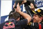 Christian Horner (Teamchef) und Sebastian Vettel (Red Bull)