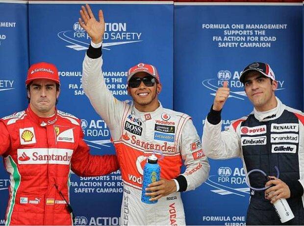 Fernando Alonso, Lewis Hamilton und Pastor Maldonado