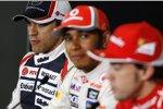 Pastor Maldonado (Williams), Lewis Hamilton (McLaren) und Fernando Alonso (Ferrari)