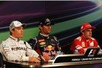 Nico Rosberg (Mercedes), Mark Webber (Red Bull) und Fernando Alonso (Ferrari)