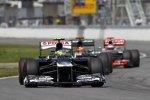 Bruno Senna (Williams), Heikki Kovalainen (Caterham) und Jenson Button (McLaren)