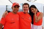 Lewis Hamilton (McLaren) mit Manager Simon Fuller und Nicole Scherzinger