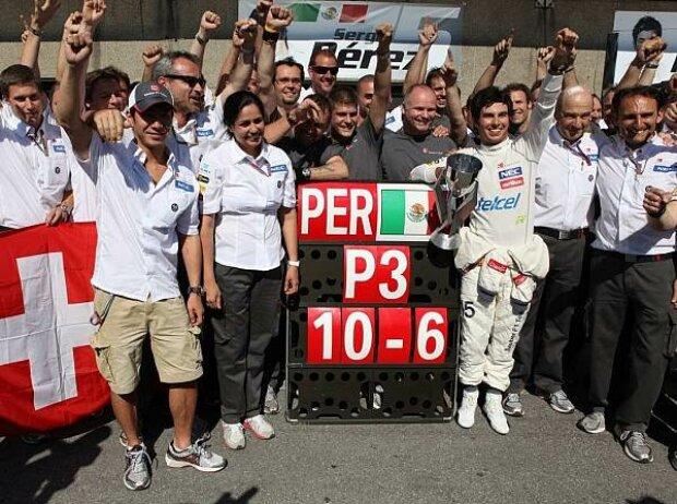 Kamui Kobayashi, Sergio Perez, Peter Sauber (Teamchef)