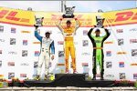 Das Milwaukee-Podium: Ryan Hunter-Reay, Tony Kanaan und James Hinchcliffe