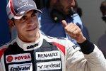 Pastor Maldonado (Williams) jubelt über Platz drei im Qualifying