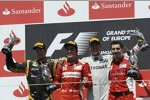 Fernando Alonso (Ferrari), Michael Schumacher (Mercedes) und Kimi Räikkönen (Lotus) mit Andrea Stella