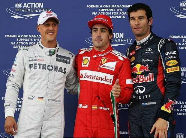 Michael Schumacher, Fernando Alonso, Mark Webber