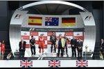 Fernando Alonso (Ferrari), Mark Webber und  Sebastian Vettel (Red Bull)