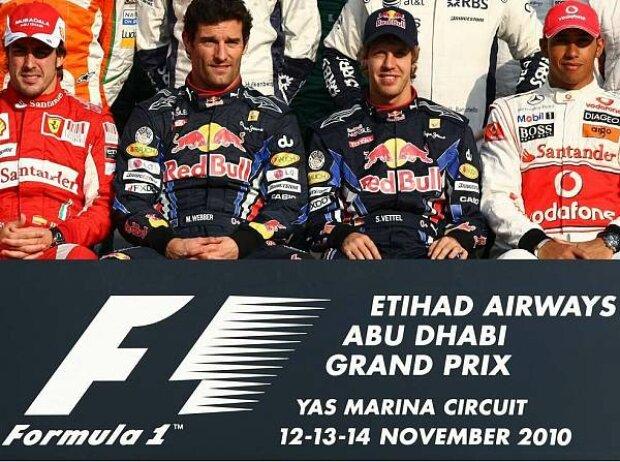 Fernando Alonso, Mark Webber, Sebastian Vettel, Lewis Hamilton