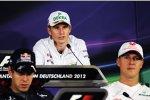 Nico Hülkenberg (Force India), Sebastian Vettel (Red Bull) und Michael Schumacher (Mercedes)