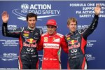 Mark Webber (Red Bull), Fernando Alonso (Ferrari) und Sebastian Vettel (Red Bull) die 3 besten im Qualifying in Hockenheim