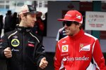 Romain Grosjean (Lotus) und Fernando Alonso (Ferrari)