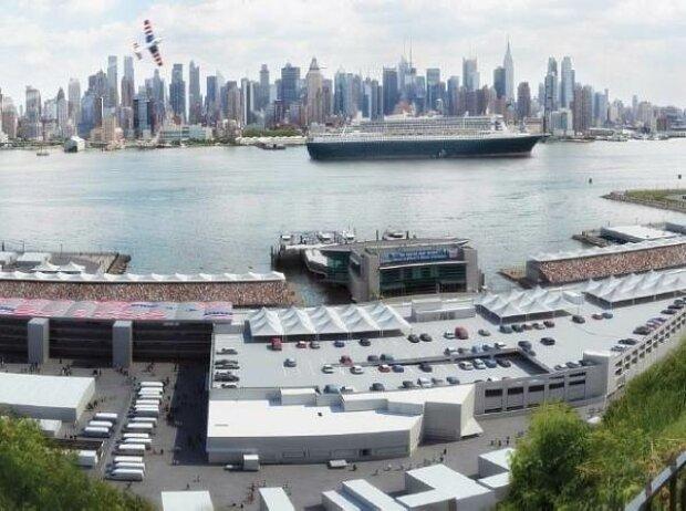Simulation des Paddocks des US-Grand-Prix in New York