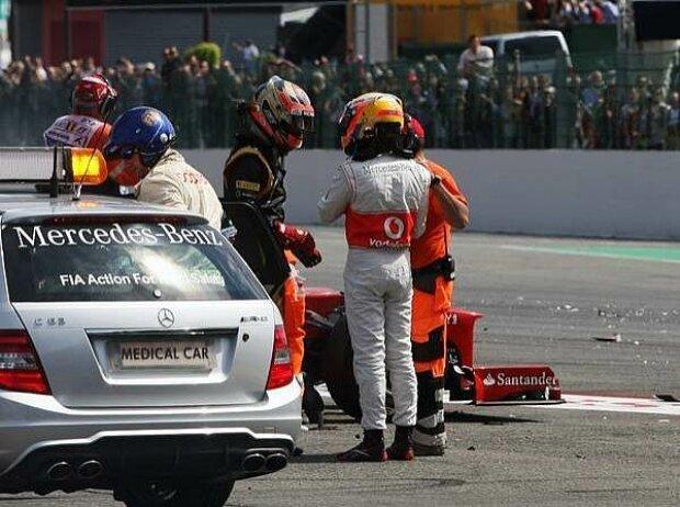 Romain Grosjean und Lewis Hamilton
