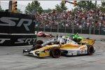 Das Andretti-Trio Ryan Hunter-Reay, Marco Andretti und James Hinchcliffe auf der Auslaufrunde