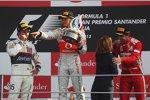 Sergio Perez (Sauber), Lewis Hamilton (McLaren) und Fernando Alonso (Ferrari)