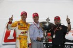 IndyCar-Champion Ryan Hunter-Reay, IndyCar-Chef Randy Bernard und Champion-Teamchef Michael Andretti