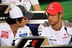 Zukünftige Teamkolelgen: Sergio Perez (Sauber) und Jenson Button (McLaren)