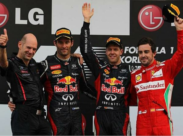 Adrian Newey, Mark Webber, Sebastian Vettel, Fernando Alonso