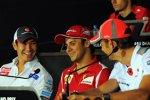 Kamui Kobayashi (Sauber), Felipe Massa (Ferrari) und Jenson Button (McLaren)