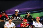 Charles Pic (Marussia), Daniel Ricciardo (Toro Rosso), Witali Petrow (Caterham), Kamui Kobayashi (Sauber), Felipe Massa (Ferrari) und Jenson Button (McLaren)