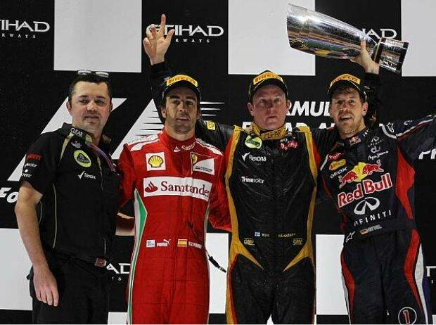 Eric Boullier, Fernando Alonso, Kimi Räikkönen, Sebastian Vettel