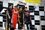Eric Boullier (Lotus-Teamchef), Fernando Alonso (Ferrari), Sebastian Vettel (Red Bull) und Kimi Räikkönen (Lotus)