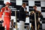Fernando Alonso (Ferrari), David Coulthard (Mücke-Mercedes) und Kimi Räikkönen (Lotus)
