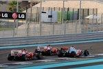 Fernando Alonso (Ferrari) vor Jenson Button (McLaren) und  Felipe Massa (Ferrari)