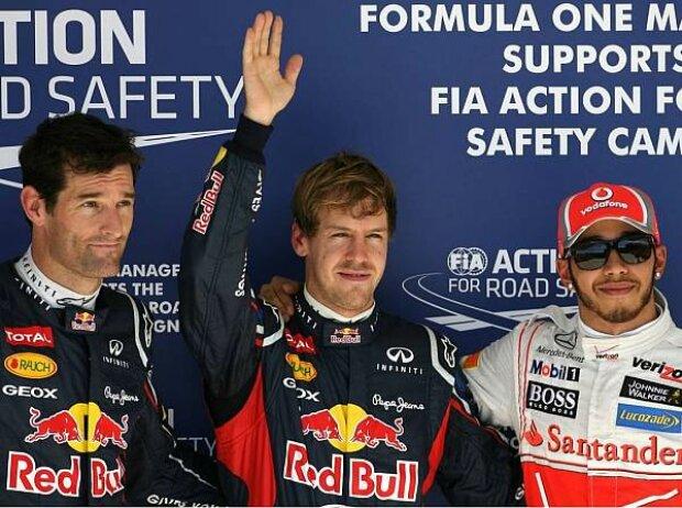Mark Webber, Sebastian Vettel, Lewis Hamilton