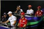 Donnerstags-Pressekonferenz mit Bruno Senna (Williams), Lewis Hamilton (McLaren), Felipe Massa (Ferrari), Sebastian Vettel (Red Bull), Michael Schumacher (Mercedes) und Fernando Alonso (Ferrari)
