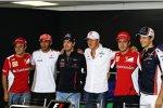Donnerstags-Pressekonferenz mit Felipe Massa (Ferrari), Lewis Hamilton (McLaren), Sebastian Vettel (Red Bull), Michael Schumacher (Mercedes), Fernando Alonso (Ferrari) und Bruno Senna (Williams)