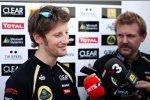 Romain Grosjean (Lotus) und Pressesprecher Andy Stobart