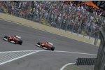 Fernando Alonso vor und Felipe Massa (Ferrari) üben im Abschlusstraining Windschattenfahren
