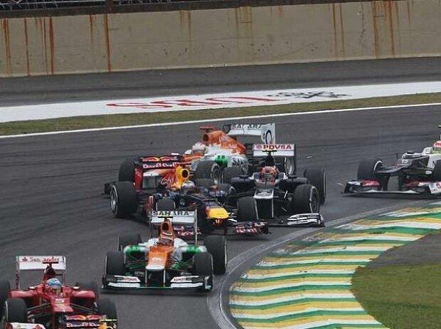 Bruno Senna, Sergio Perez, Sebastian Vettel, Jenson Button, Felipe Massa