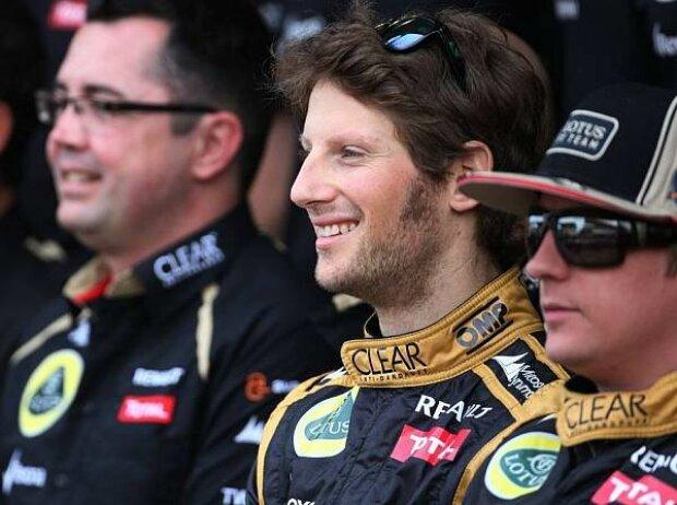 Eric Boullier, Romain Grosjean und Kimi Räikkönen