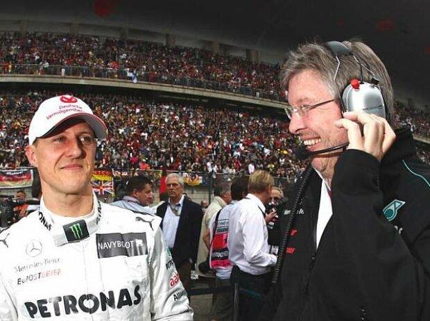 Michael Schumacher, Ross Brawn (Mercedes-Teamchef)