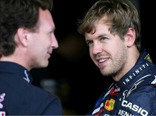 Sebastian Vettel, Christian Horner (Red-Bull-Teamchef)