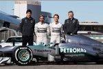 Toto Wolff, Lewis Hamilton, Nico Rosberg und Ross Brawn (Mercedes)