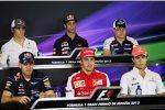Esteban Gutierrez, Daniel Ricciardo, Valtteri Bottas, Sebastian Vettel, Fernando Alonso und Sergio Perez