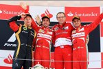 Fernando Alonso (Ferrari), Stefano Domenicali, Felipe Massa (Ferrari) und Kimi Räikkönen (Lotus)
