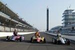 Startreihe eins: Ed Carpenter (Carpenter), Carlos Munoz und Marco Andretti (beide Andretti)