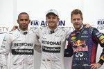 Lewis Hamilton, Nico Rosberg (Mercedes) und Sebastian Vettel (Red Bull)