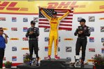 Das Milwaukee-Podium: Ryan Hunter-Reay, Helio Castroneves und Will Power