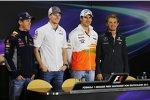 Sebastian Vettel (Red Bull), Nico Hülkenberg (Sauber), Adrian Sutil (Force India) und Nico Rosberg (Mercedes)