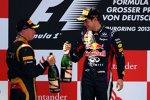 Sebastian Vettel (Red Bull) und Kimi Räikkönen (Lotus)