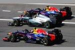 Sebastian Vettel (Red Bull), Lewis Hamilton (Mercedes) und Mark Webber (Red Bull)