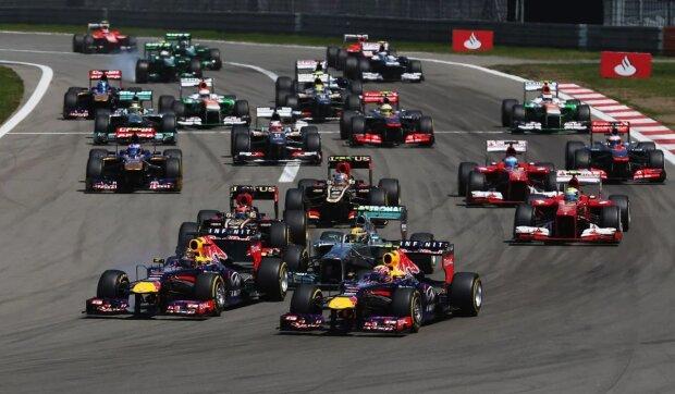 Sebastian Vettel Mark Webber Red Bull Infiniti Red Bull Racing F1 ~Start zum Großen Preis von Deutschland mit Sebastian Vettel und Mark Webber (beide Red Bull) an der Spitze~